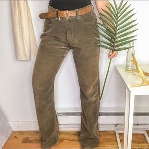 Jake Agave Lt Brown Corduroy High Rise Flare Pants